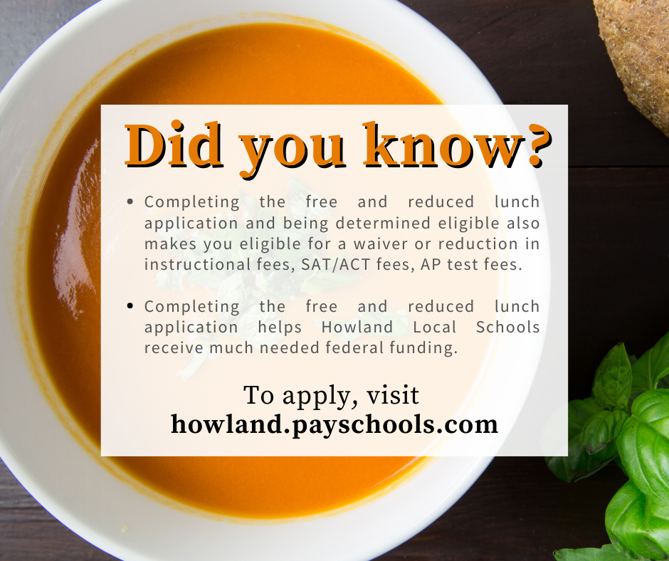 Free and reduced lunch applications must be completed by Friday, October 30, 2020